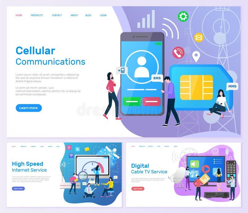 Servizio di Internet ad alta velocità di comunicazione cellulare illustrazione di stock