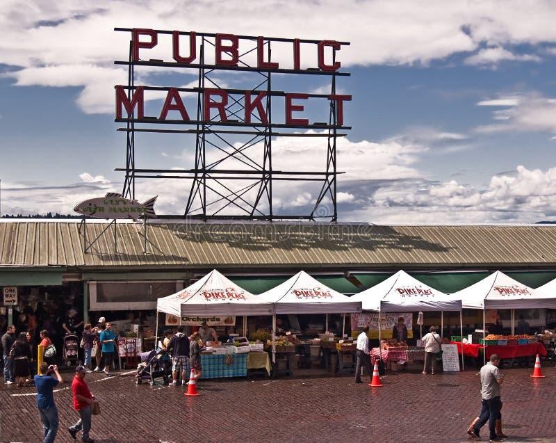 Servizio di posto del Pike a Seattle immagini stock libere da diritti