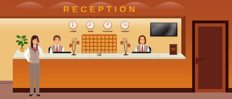 Servizio di ricezione dell'hotel Tre ospiti benvenuti degli impiegati dell'hotel Receptionist dell'ufficio di affari illustrazione vettoriale