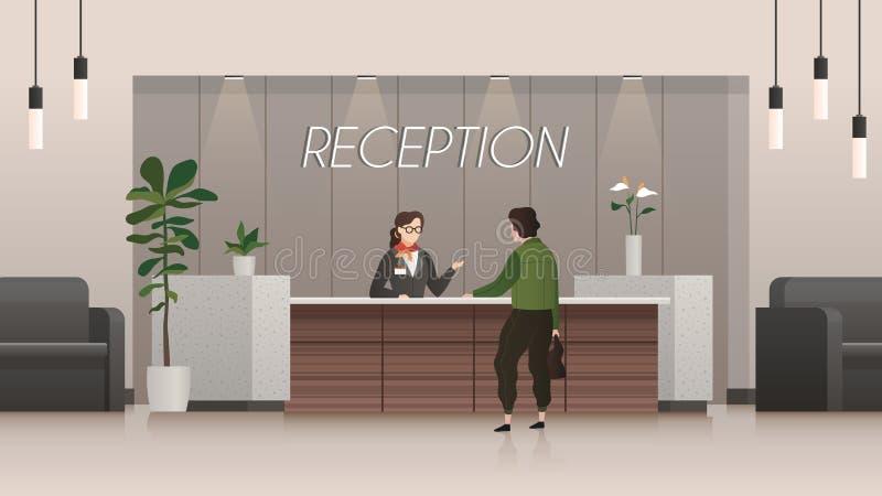 servizio di ricezione Receptionist e cliente nel corridoio dell'ingresso dell'hotel, viaggio della gente Concetto piano di vettor royalty illustrazione gratis