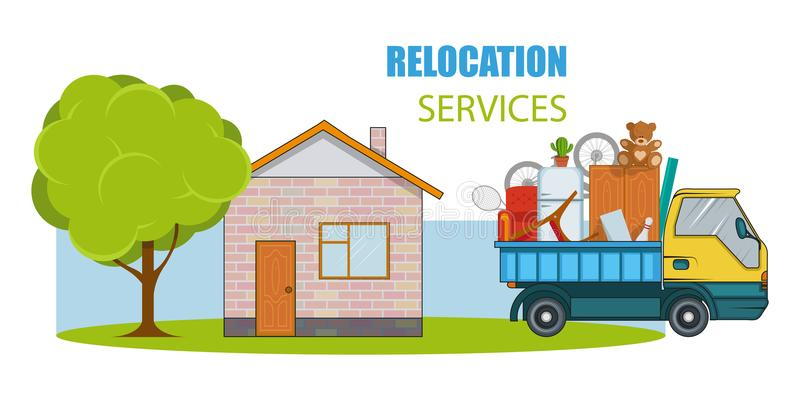 Servizio di rilocazione Concetto commovente Il camion del carico sta trasportando le cose vicino alla casa con un albero Camion d illustrazione vettoriale