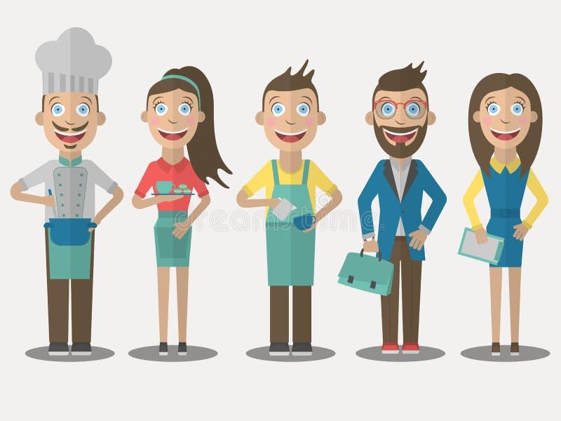 Servizio di ristorazione Insieme delle icone della gente nello stile piano immagini stock