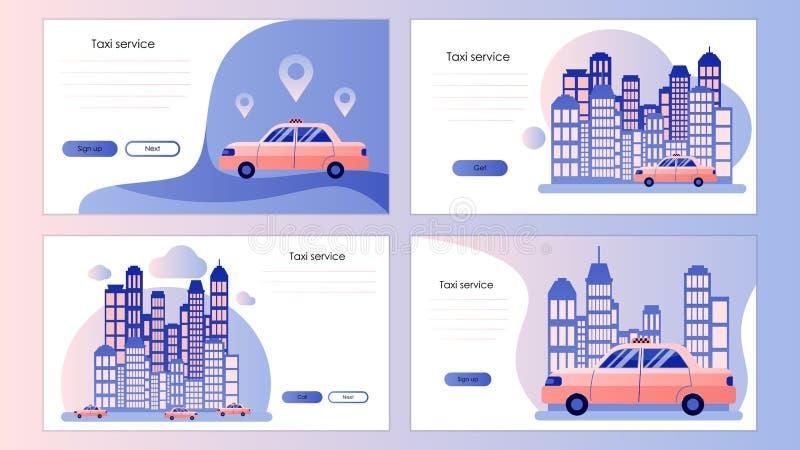 Servizio di taxi Modello dello schermo per lo Smart Phone mobile, pagina d'atterraggio, modello, ui, web, app mobile, manifesto,  illustrazione di stock