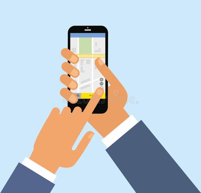 Servizio di taxi Smartphone e schermo attivabile al tatto Rete app del trasporto, chiamante una carrozza dal concetto del telefon illustrazione vettoriale