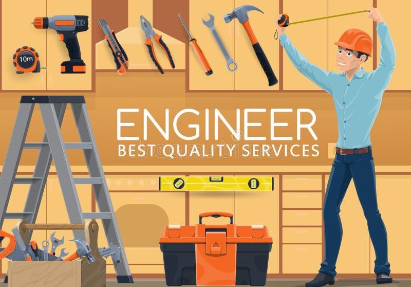 Servizio domestico di professione dell'ingegnere di costruzione illustrazione vettoriale