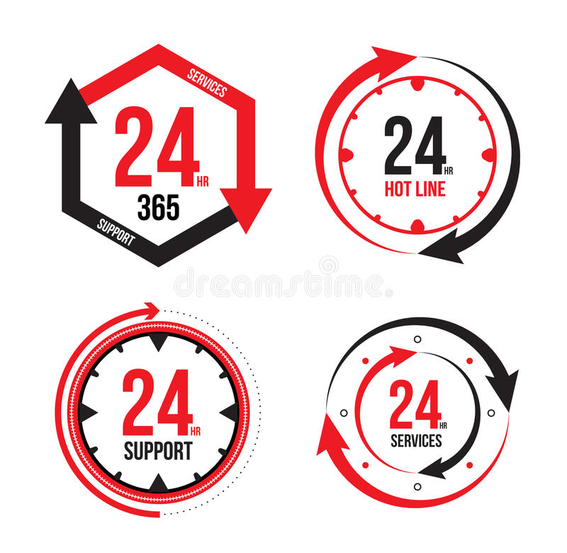 Servizio e contributo ai clienti ventiquattr'ore su ventiquattro illustrazione di stock