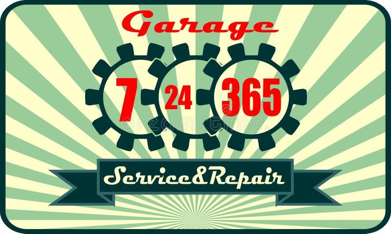 Servizio e riparazione del garage con 7, 24, modo di funzionamento 365 illustrazione di stock