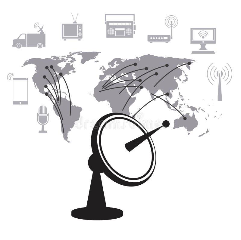 Servizio globale del trasmettitore di dati del riflettore parabolico illustrazione di stock