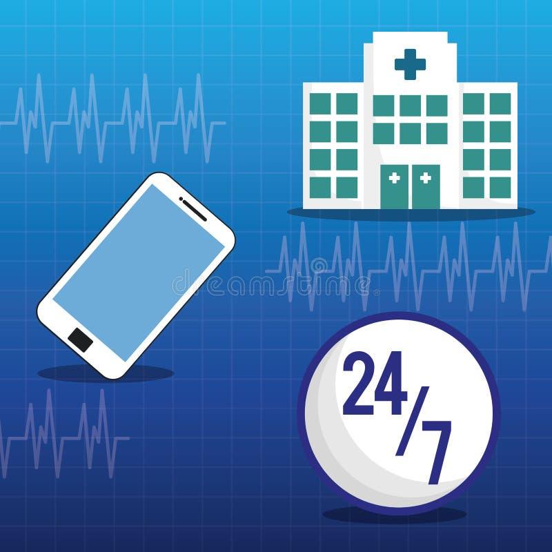 servizio medico online 24-7 dell'ospedale royalty illustrazione gratis