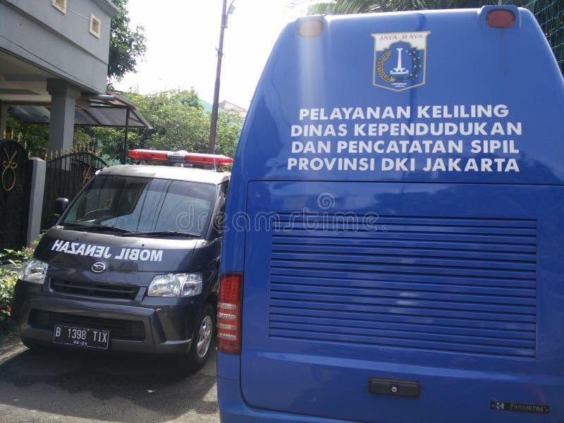servizio mobile per la fabbricazione della carta di identità dei childs, Jakarta, Indonesia 2 aprile 2019 fotografia stock