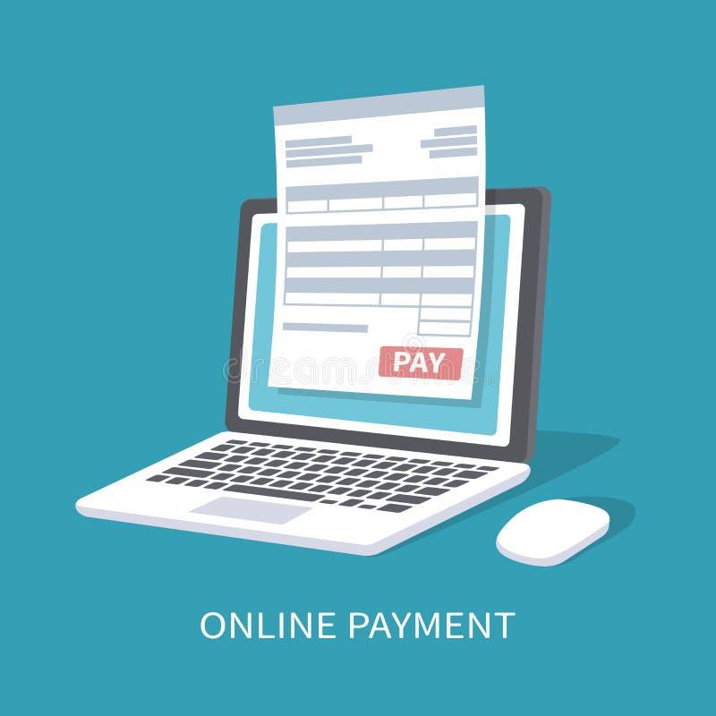 Servizio online di pagamento Documenti la forma sullo schermo del computer portatile su un bottone di paga illustrazione di stock