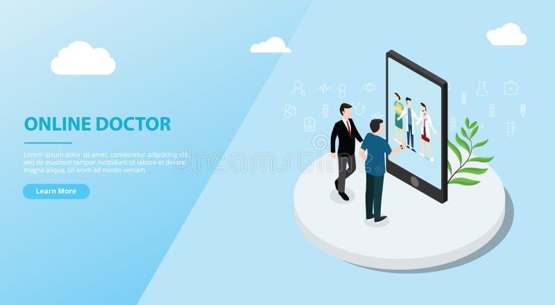 Servizio online per l'insegna del modello del sito Web - vettore del app di medico illustrazione vettoriale