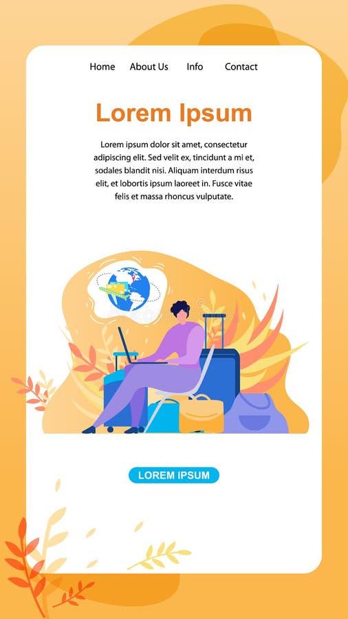 Servizio online per l'insegna piana di web di vettore del viaggiatore illustrazione di stock