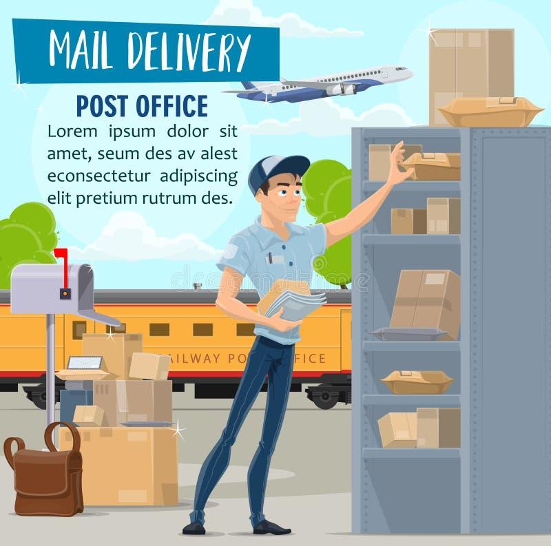 Servizio, postino e pacchetto di distribuzione della posta royalty illustrazione gratis