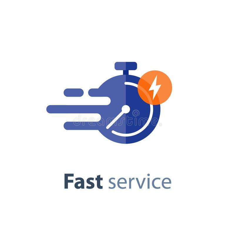 Servizio tempestivo, consegna veloce, periodo di tempo, cronometro nel moto, icona di vettore illustrazione vettoriale