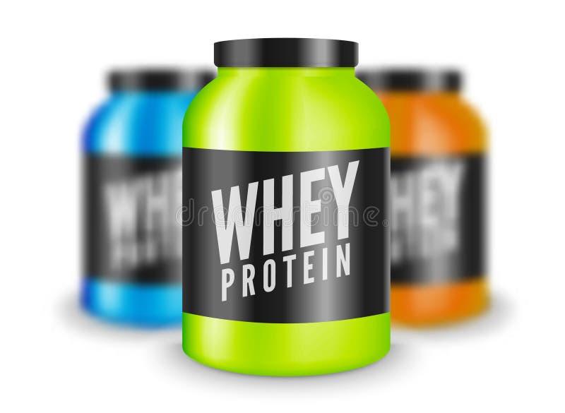 Serwatki bodybuilding proteinowy odżywianie odizolowywający na bielu Styl życia władzy sprawności fizycznej szkolenia sporta ilus royalty ilustracja