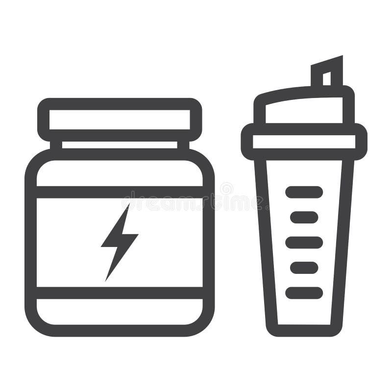 Serwatki proteina z sporta potrząsacza linii ikoną ilustracja wektor