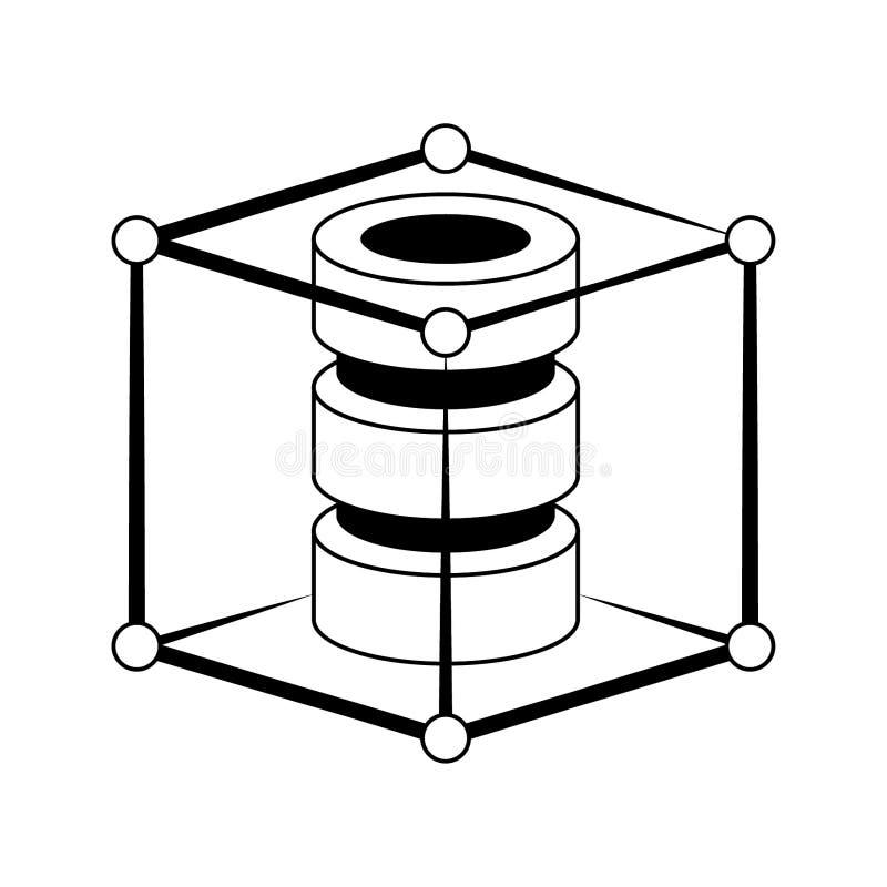 Serwerów dyski ochraniający wśrodku sześcianu system bezpieczeństwa w czarny i biały ilustracji
