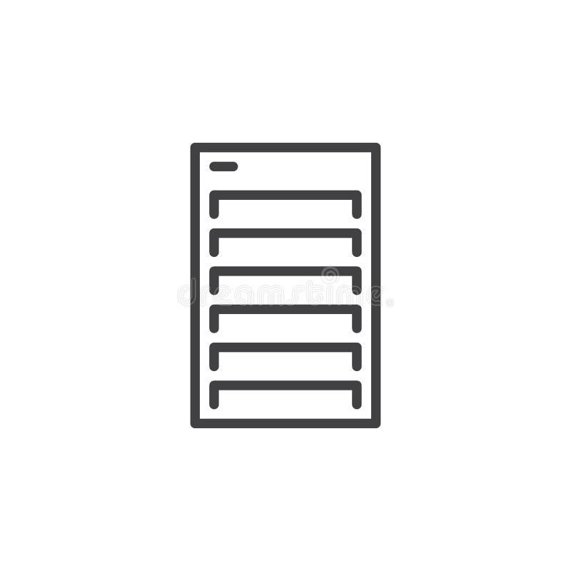 Serwer kreskowa ikona, konturu wektoru znak, liniowy stylowy piktogram odizolowywający na bielu royalty ilustracja