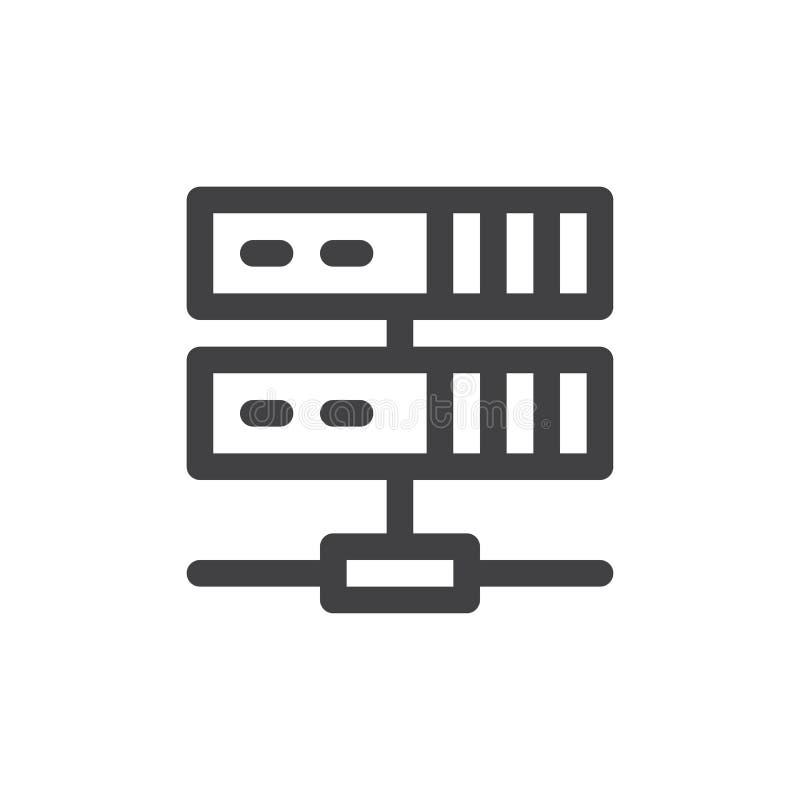 Serwer kreskowa ikona, konturu wektoru znak, liniowy stylowy piktogram odizolowywający na bielu ilustracji