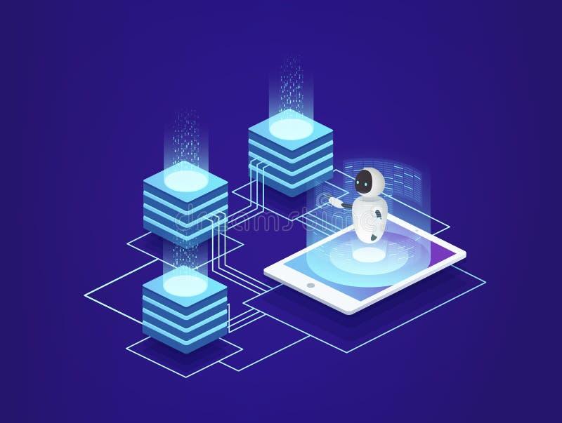 Serwer stacja, dane centrum Cyfrowych technologie informacyjne pod kontrola sztuczna inteligencja ilustracja wektor