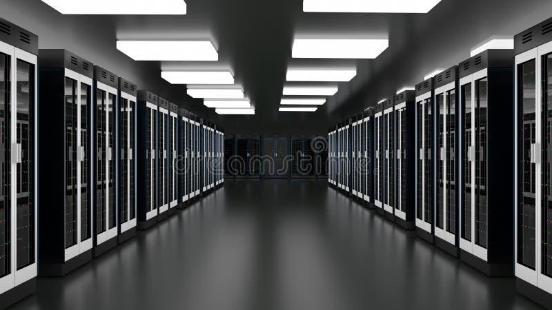 Serwer?w dane Izbowy centrum Datacenter narz?dzia grono Wsparcie, go?ci, komputer mainframe, rolny stojak z sk?adow? informacj? royalty ilustracja