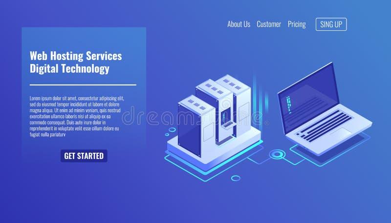 Serweru izbowy stojak, dalekiego systemu administracja, zlecać na zewnątrz usługa, oblicza technologii isometric wektorową ikonę  ilustracji