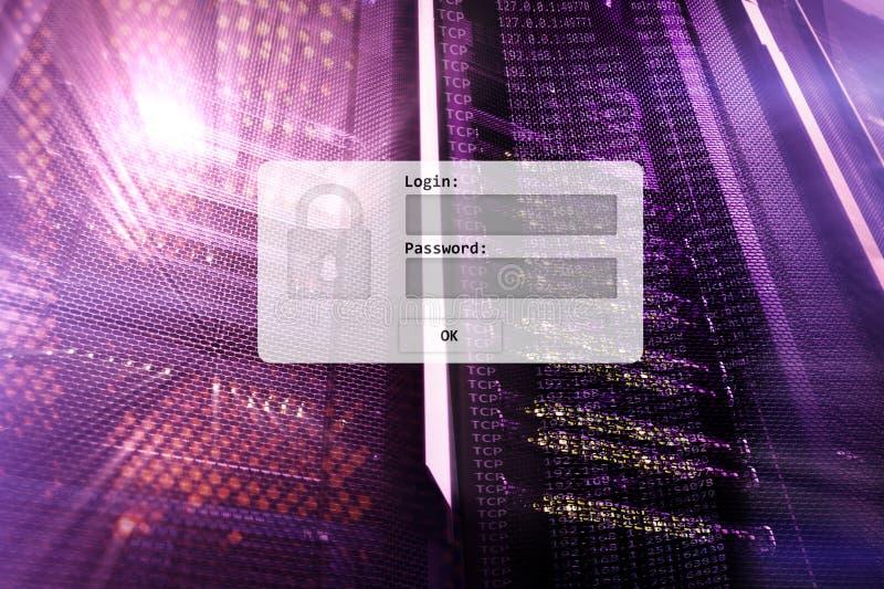 Serweru pokój, prośba, dane dostęp i ochrona, nazwy użytkownika i hasła, ilustracja wektor