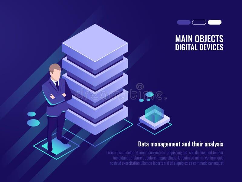 Serweru stojak, zarządzanie danymi i analiza, ilustracji