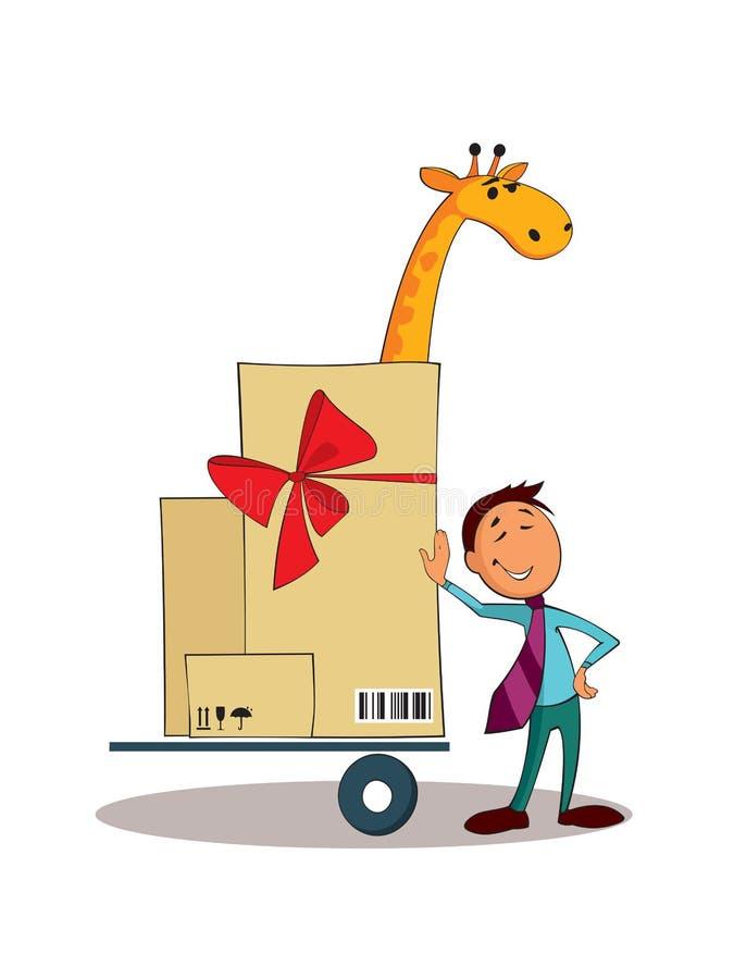 Serwis dostawczy dużych rozmiarów ładunek Logistycznie pojęcie royalty ilustracja