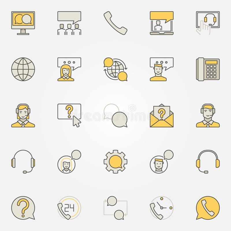 Serwis pomocy kolorowe ikony - wektorowa online pomoc i klient ilustracji