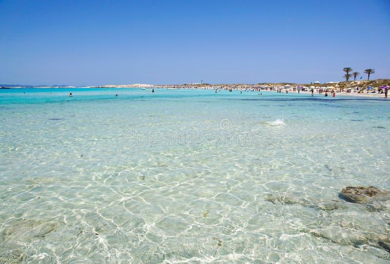 Ses Illetes在福门特拉岛是一个真正的天堂海滩在西班牙 免版税库存照片