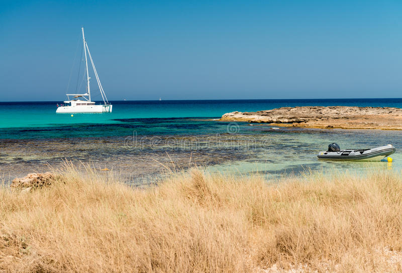 Ses Illetes海滩在福门特拉岛,西班牙 库存照片