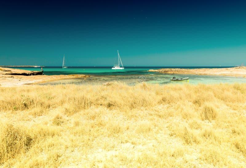 Ses Illetes海滩看法在福门特拉岛,巴利阿里群岛,西班牙 免版税图库摄影