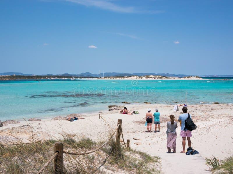 Ses Illetes海滩,福门特拉岛 库存照片