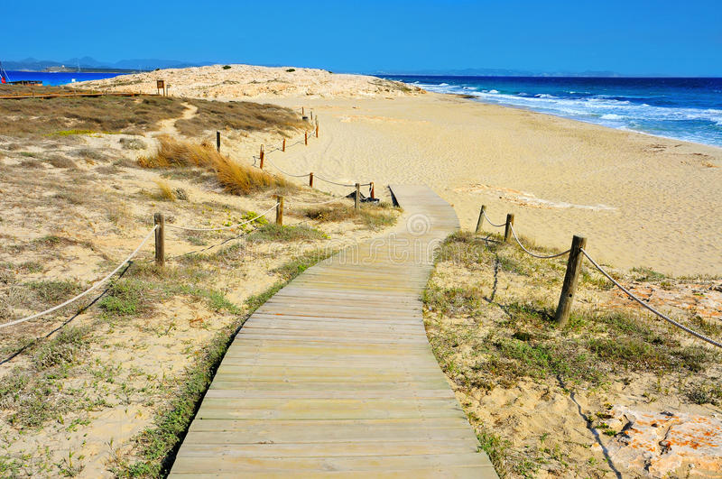 Ses Illetes Beach in Formentera, Balearic Islands. Spain stock photo