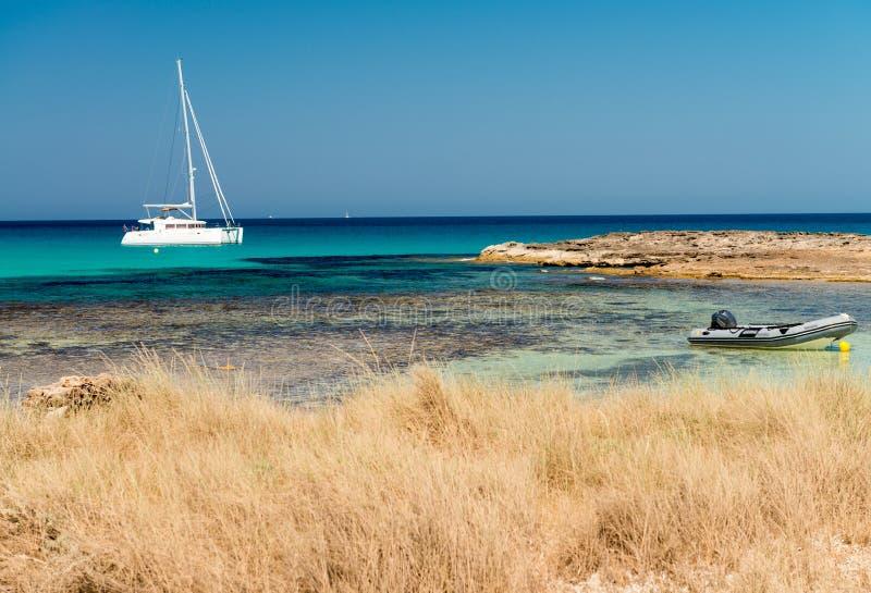 Ses Illetes strand i Formentera, Spanien arkivfoto