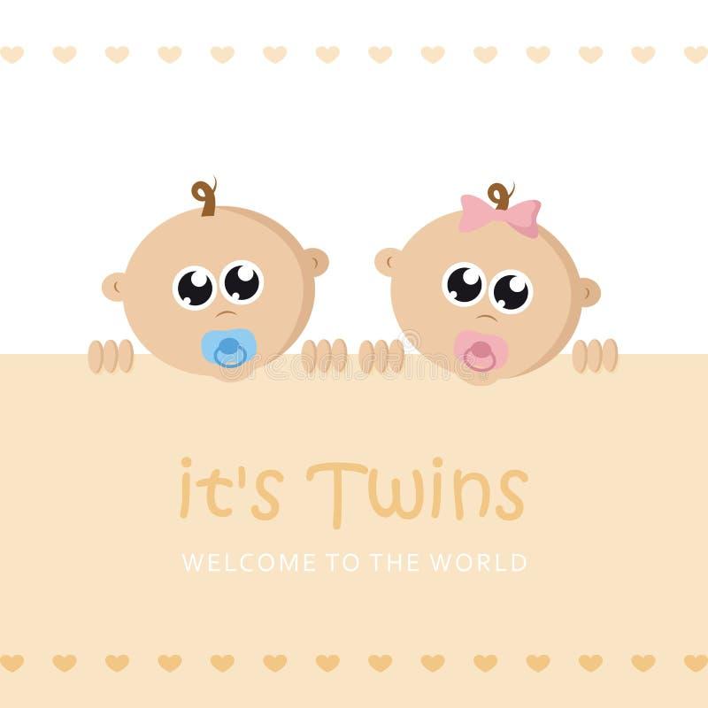 Ses jumeaux garçon et carte de voeux d'accueil de fille pour l'accouchement avec le visage de bébé illustration libre de droits
