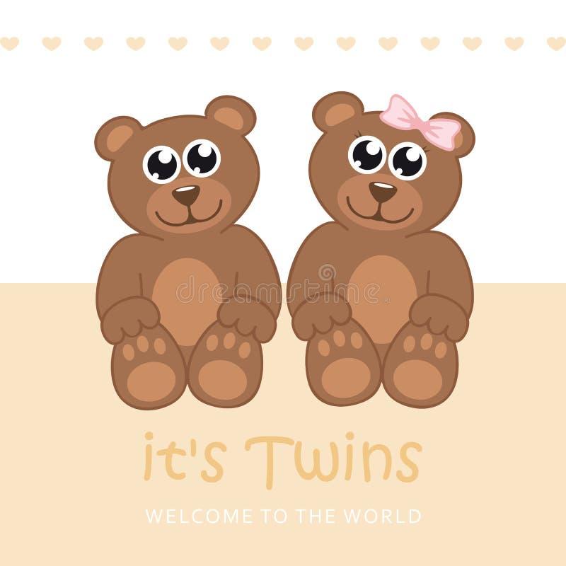 Ses jumeaux garçon et carte de voeux d'accueil de fille pour l'accouchement avec l'ours de nounours illustration libre de droits