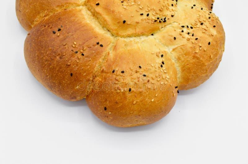 Sesam en zwart zaad op vers gebakken heet brood royalty-vrije stock afbeelding