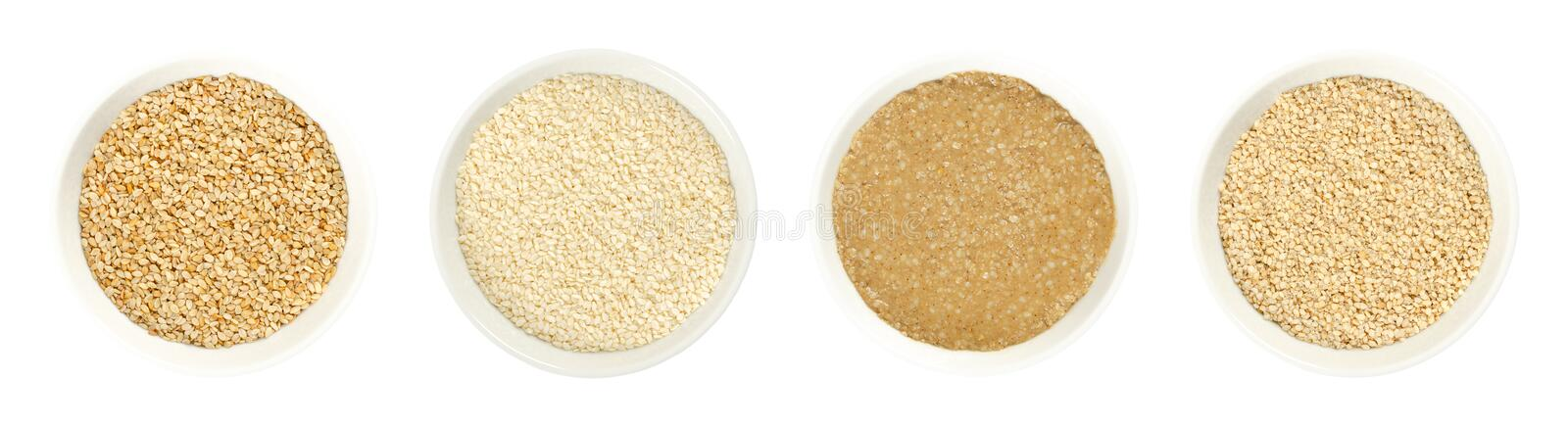 Sesame in bowls, on white background royalty free stock photos