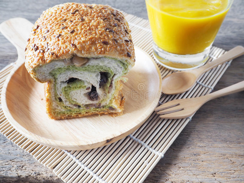 Sesame bread with beans and pumpkin soup stock photo