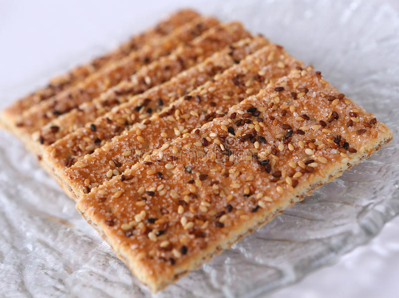 Sesame cakes with cocoa and sugar stock photo