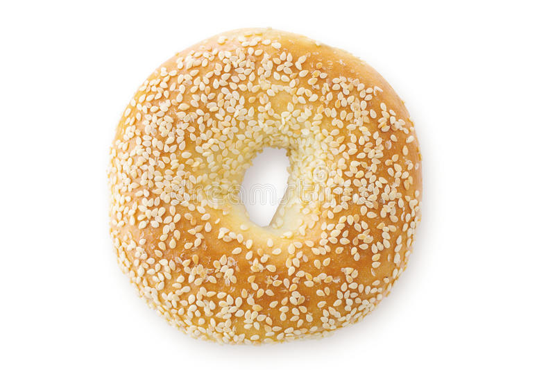 Sesame Seed Bagel, Viewed From Above royalty free stock photos