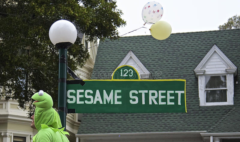 Sesame Street. Sign as created for Bay to Breakers Parade in San Francisco royalty free stock photo