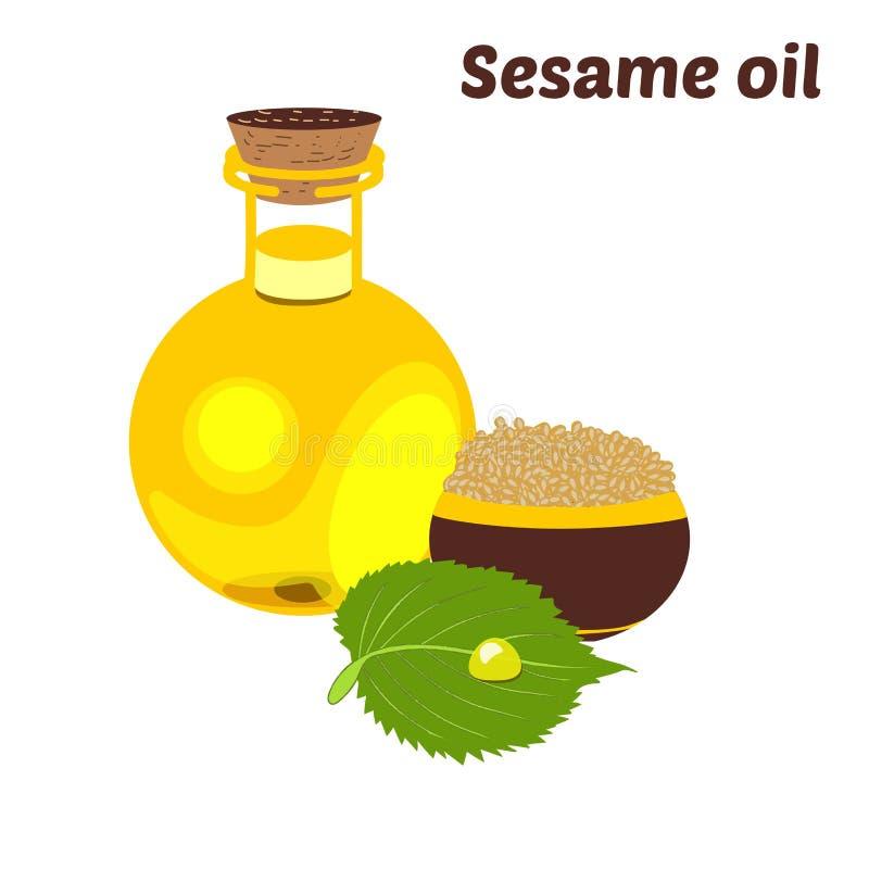 Sesamolie in een ronde fles Transparante eetbare vloeistof van natuurlijk, plantaardig, maagdelijk organisch gezond olieproduct royalty-vrije illustratie