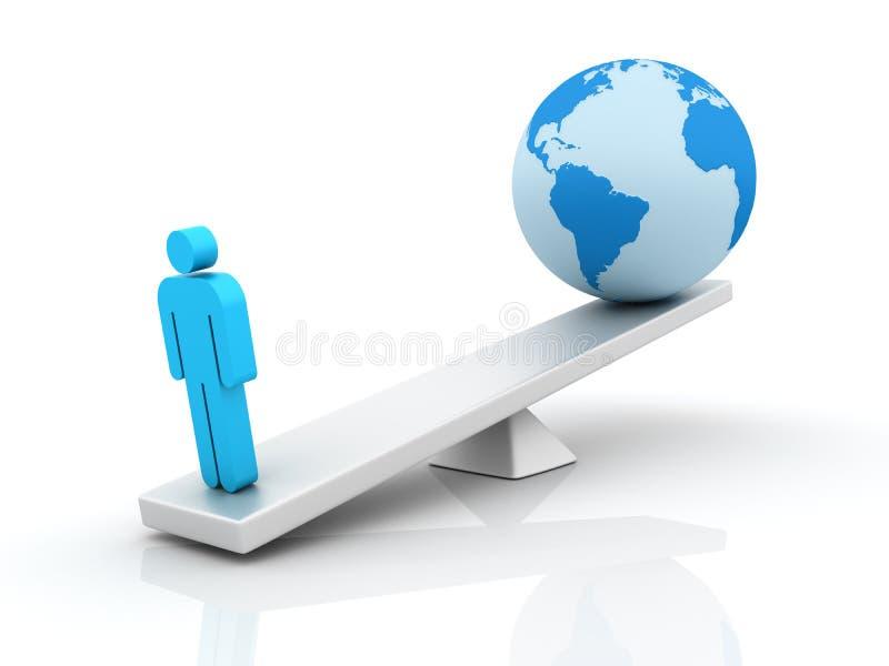 人和世界平衡 向量例证