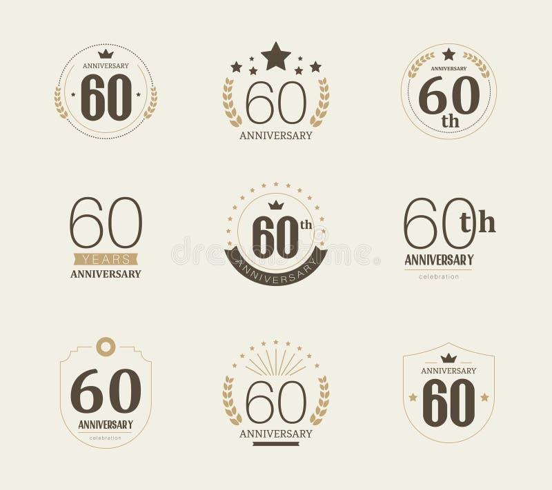 Sesenta años del aniversario de logotipo de la celebración 60.o sistema del logotipo del aniversario stock de ilustración