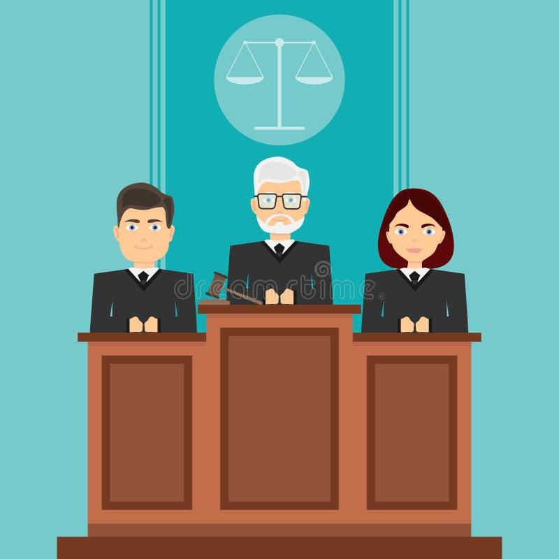 Sesión en los tribunales Los jueces se sientan ante el tribunal Los jueces se sientan en sus asientos ilustración del vector