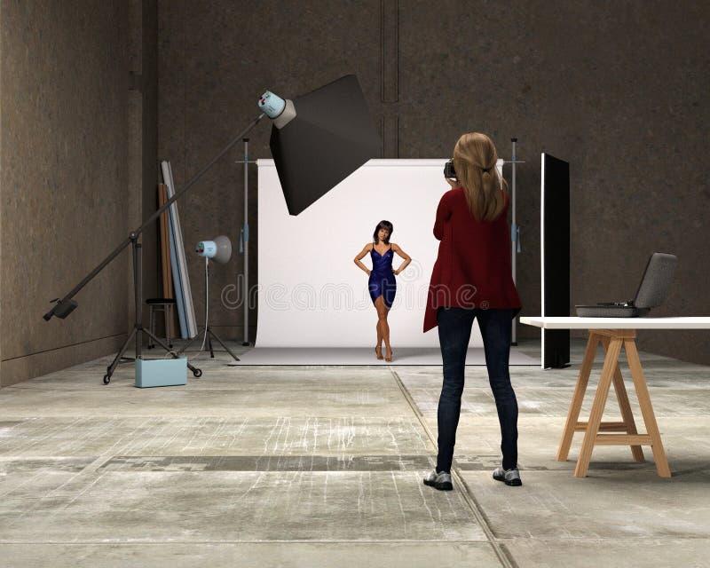 Sesión fotográfica de la moda en un estudio - 3d rinden stock de ilustración